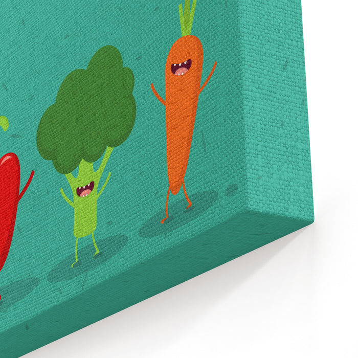 Carrot, Broccoli, Pepper, Eggplant Cartoon Vegetables Illustration Vector Cartoon Friends Forever Omic Characters Canvas Wall Art Print