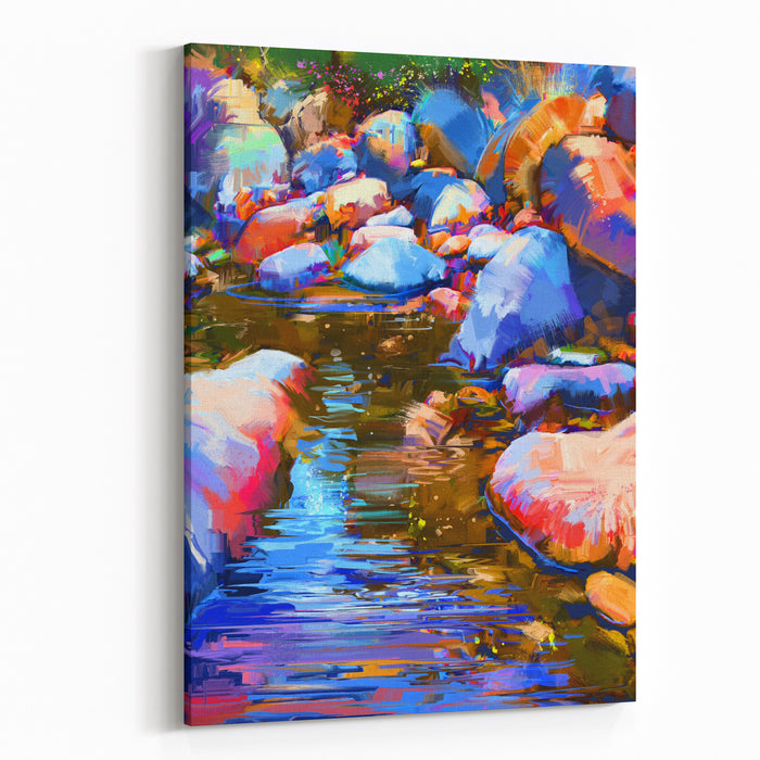 Beautiful River Amongst Colorful Stones,digital Painting,illustration Canvas Wall Art Print