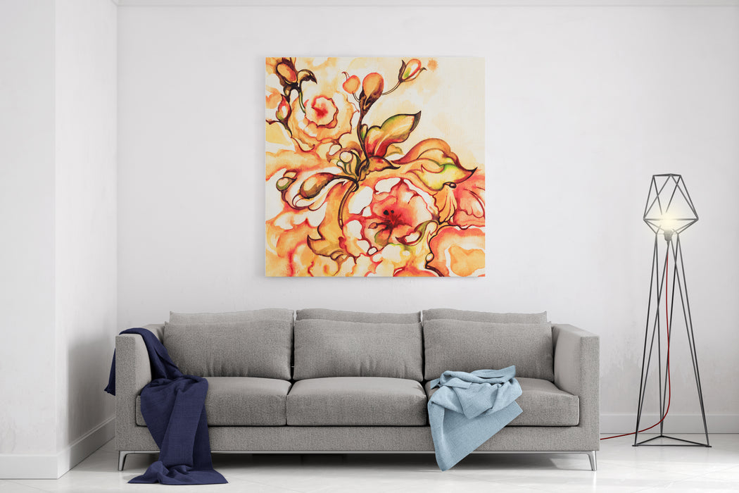 Bright Decorative Flowers   Orange And Red Shades Watercolor On Textured Paper  Hand Illustration Canvas Wall Art Print