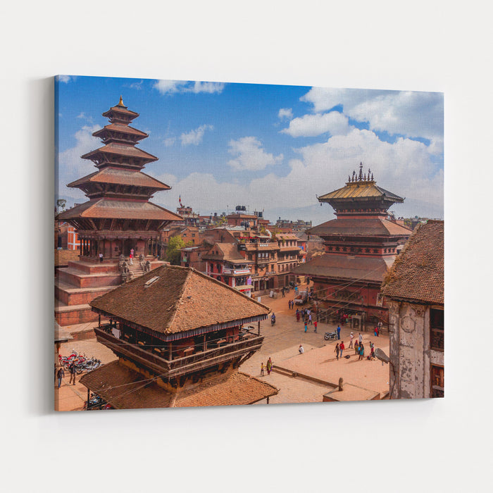 Bhaktapur Is UNESCO World Heritage Site Located In The Kathmandu Valley, Nepal Canvas Wall Art Print