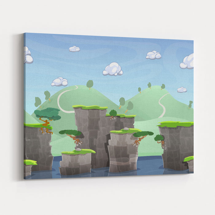 Seamless Cartoon Nature Landscape, Vector Unending Background With Ground, Hills, River And Sky Layers Canvas Wall Art Print