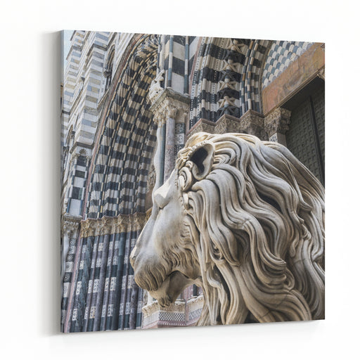 Genoa Genova, Liguria, Italy Facade Of The Historic Cathedral Canvas Wall Art Print