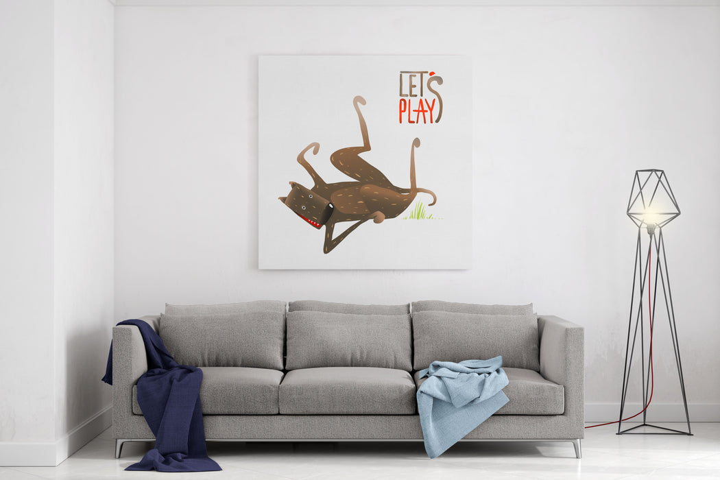 Funny Smiling Happy Dog Lying On Its Back Playing Brown Dog Ready To Play Colorful Cartoon Illustration Raster Variant Canvas Wall Art Print