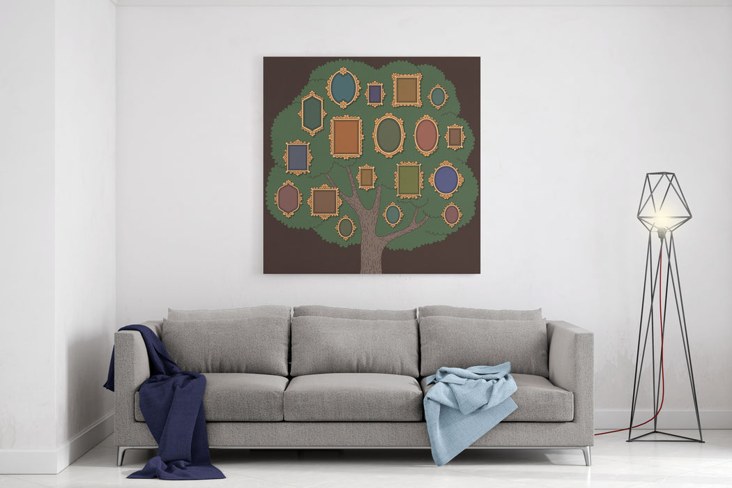 Family Tree With Several Oldfashioned Vignette Frames On Dark Background Cartoon Template  For Your Design Canvas Wall Art Print