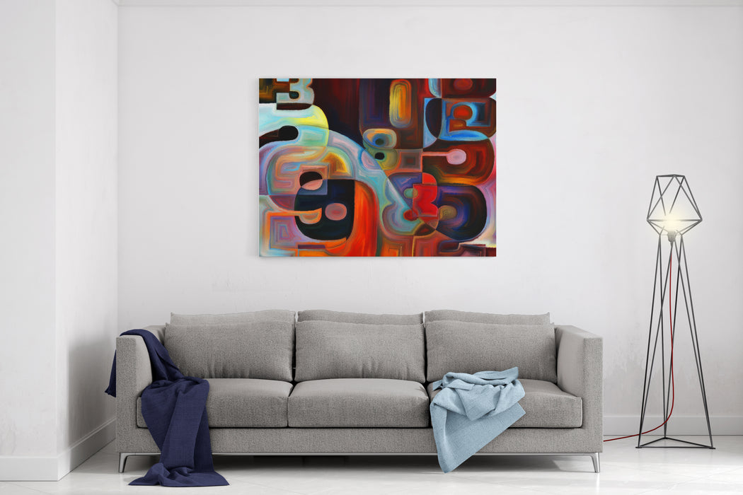 Numeric Color Series Interplay Of Numbers, Colors And Shape On The Subject Of Math, Science, Education And Art Canvas Wall Art Print