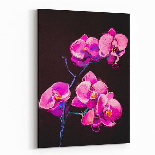 Original Pastel Painting On CardboardModern Painting Pink Orchids Canvas Wall Art Print