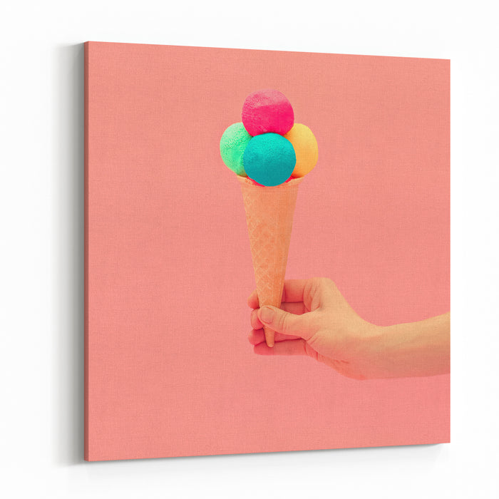 Vanilla Ice Cream Design Pink Colors Of Summer Canvas Wall Art Print
