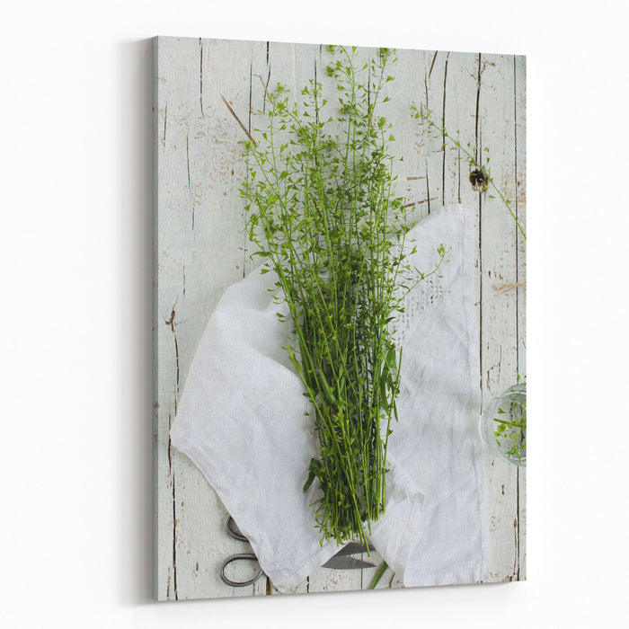 Summer Day With Wild Grass Top View Canvas Wall Art Print