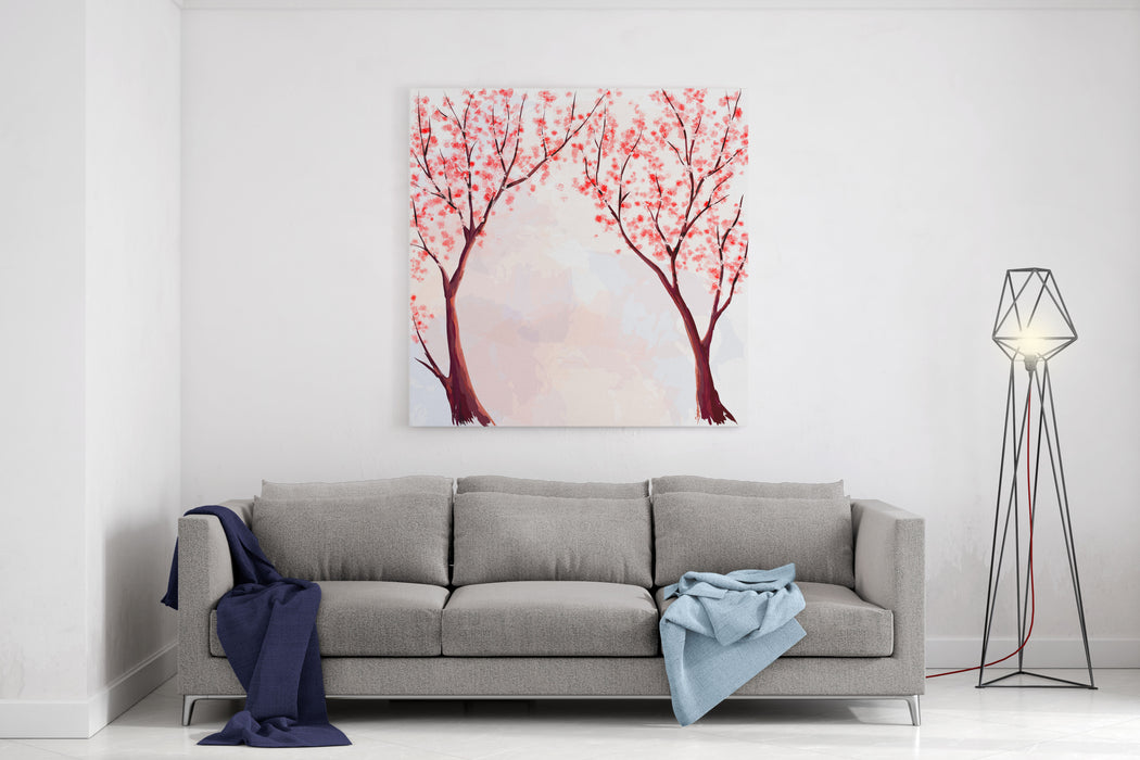 Cherry Blossom Watercolor Illustration Canvas Wall Art Print
