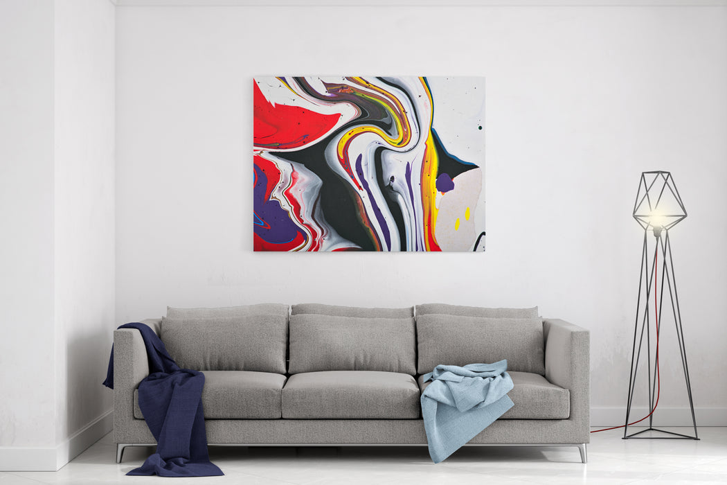 Abstract Acrylic Modern Painting Fragment Colorful Rainbow Stains Texture Contemporary Art Spray Paint Canvas Wall Art Print