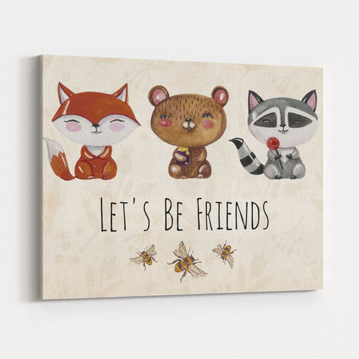 Lovely Cute Illustration With Baby Fox, Bear, Raccoon And Bees Lets Be Friends With Watercolor Little Animals Kids Illustration Canvas Wall Art Print