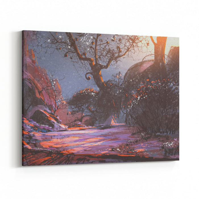 Beautiful Winter Sunset With Fantasy Trees In The Snow,digital Painting,illustration Canvas Wall Art Print