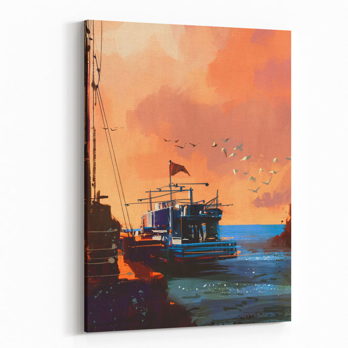 Painting Of Fishing Boat In Port At Sunset,illustration Canvas Wall Art Print