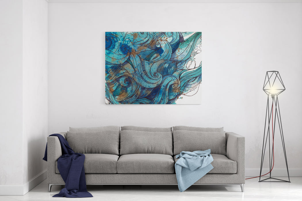 Vector Color Abstract Handdrawn Background With Waves And Clouds  InkPainting Blue Color Canvas Wall Art Print