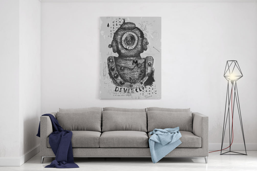 Symbolic Image Of An Old Wetsuit To Dive To Great Depths Canvas Wall Art Print