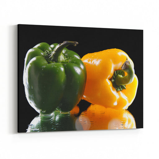 Vegetables Sweet Pepper Isolation On A Black Background Canvas Wall Art Print