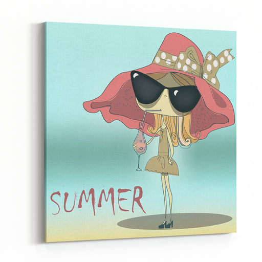 Funny Summer Girl Drinking The Cocktail Canvas Wall Art Print