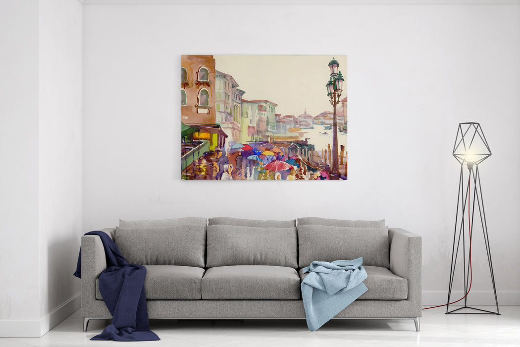 Street Of Old Autumn City Made In Watercolor Style Canvas Wall Art Print