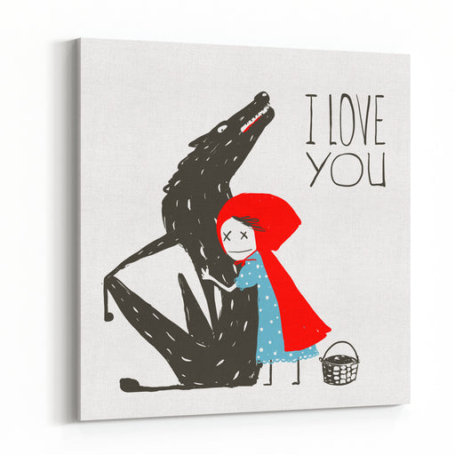 Little Red Riding Hood Loves Black Wolf Little Red Riding Hood Hugs Wolf, Illustration For The Fairy Tale Vector Illustration Canvas Wall Art Print