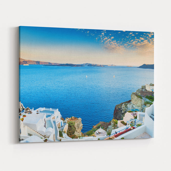 Beautiful View Of The Sea And Islands At Sunset Oia Town, Santorini Island, Greece Canvas Wall Art Print