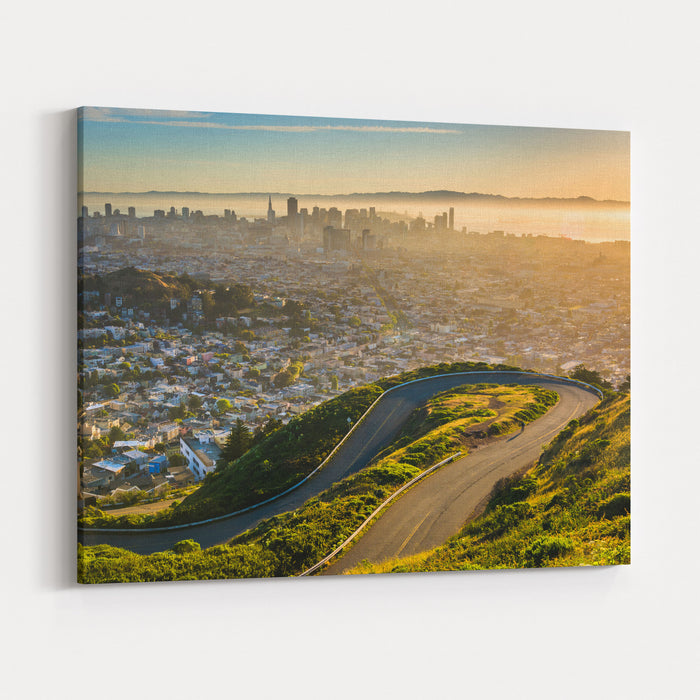 Curvy Road And View Of Downtown At Sunrise From Twin Peaks, In San Francisco, California Canvas Wall Art Print