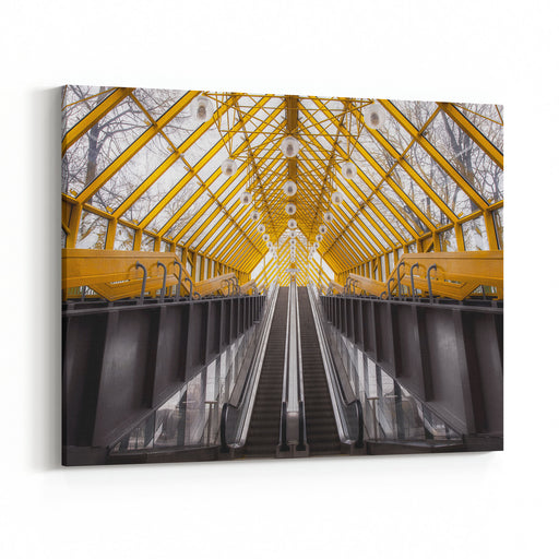 Architectural Abstract And Perspective View, Pushkins Bridge In Moscow Canvas Wall Art Print
