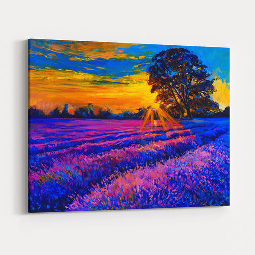 Original Oil Painting Of Lavender Fields On Canvas Sunset Over Lavender Field Modern Impressionism By Nikolov Canvas Wall Art Print