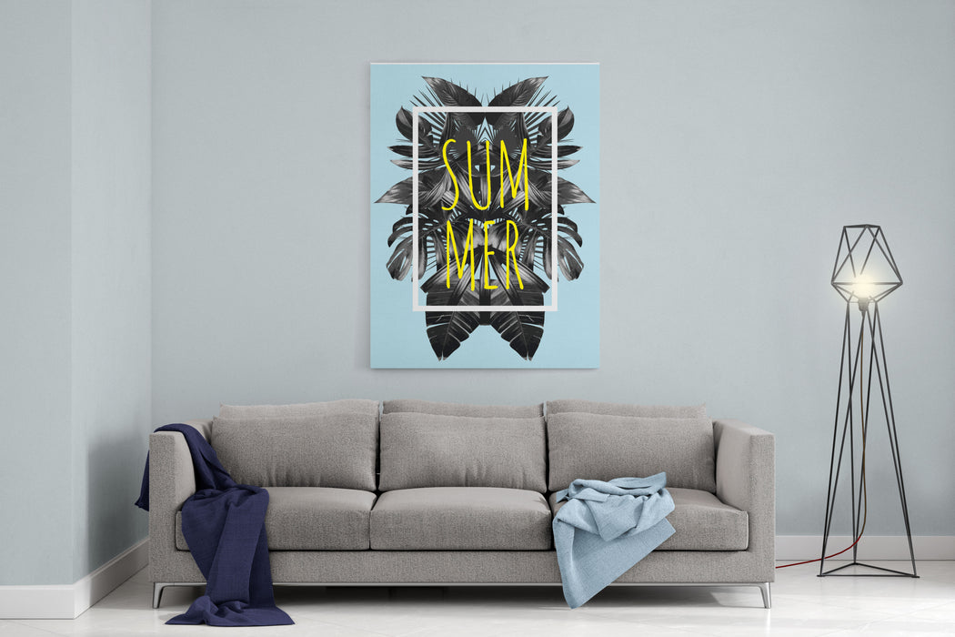 Illustration Word Slogan Summer In A Square White Frame The Trendy Tropic Style The Art Vector Black Mirror Palm Leaf Print Fashion Floral Background Canvas Wall Art Print
