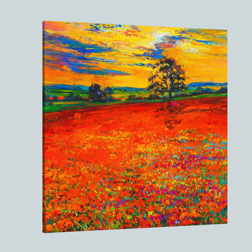 Original Oil Painting Of Poppy Field In Front Of Beautiful Sunset On CanvasModern Impressionism By Nikolov Canvas Wall Art Print