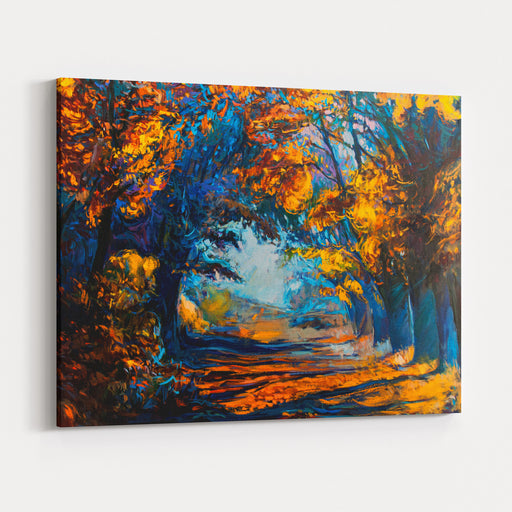 Original Oil Painting Showing Beautiful Autumn Landscape Modern Impressionism By Nikolov Canvas Wall Art Print