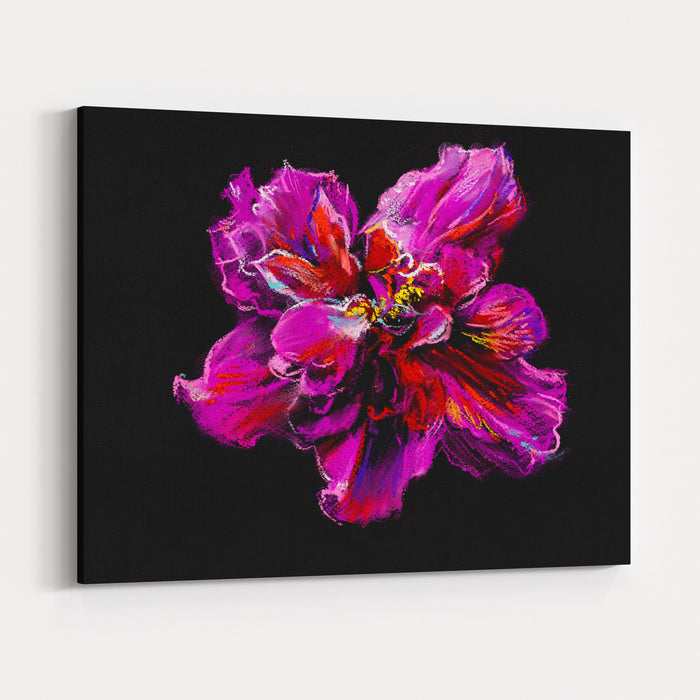A Big Red Hibiscus Flower  On Black Background Canvas Wall Art Print