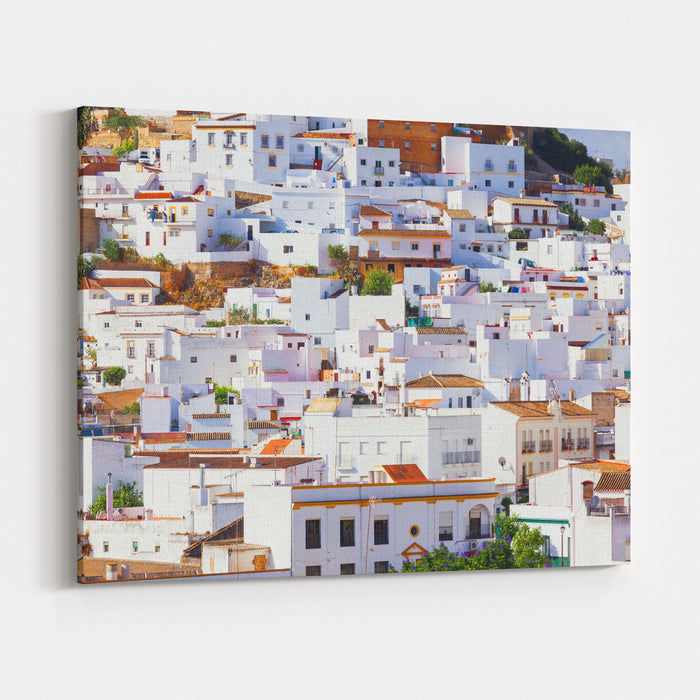Arcos De La Frontera, Tipycal Andalusian White Town Of Intrincate Architecture Province Of Cadiz, Spain Canvas Wall Art Print