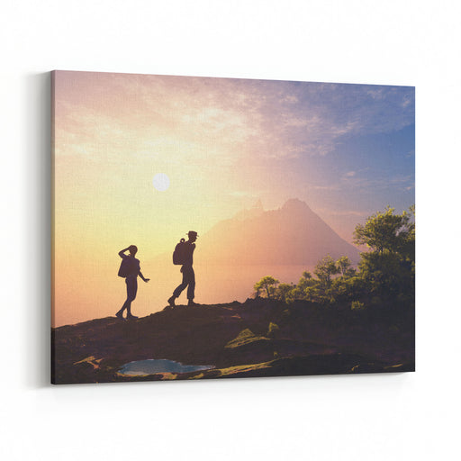 Silhouette Of People Near The Mountain Canvas Wall Art Print