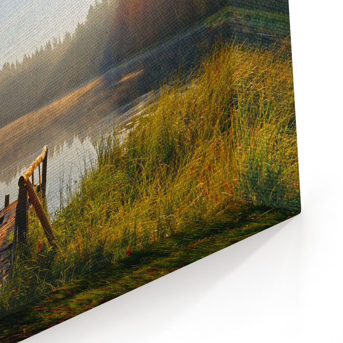 Reflection Of Trees, In Water Of Magically Beautiful Lake In Sun Beams At Sunrise Woods Of The Leningrad Region St Petersburg Nature Of Russia Canvas Wall Art Print