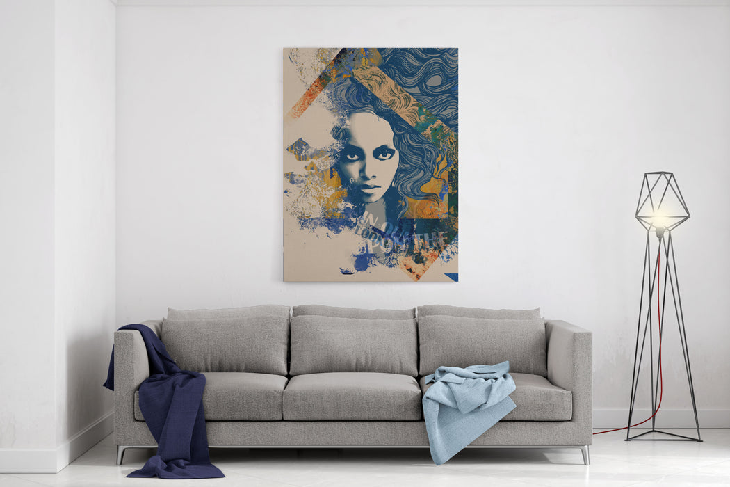 Ink Print With A Beautiful Lady Face, Decorative Hair And Painted Blots  For Tshirt Canvas Wall Art Print