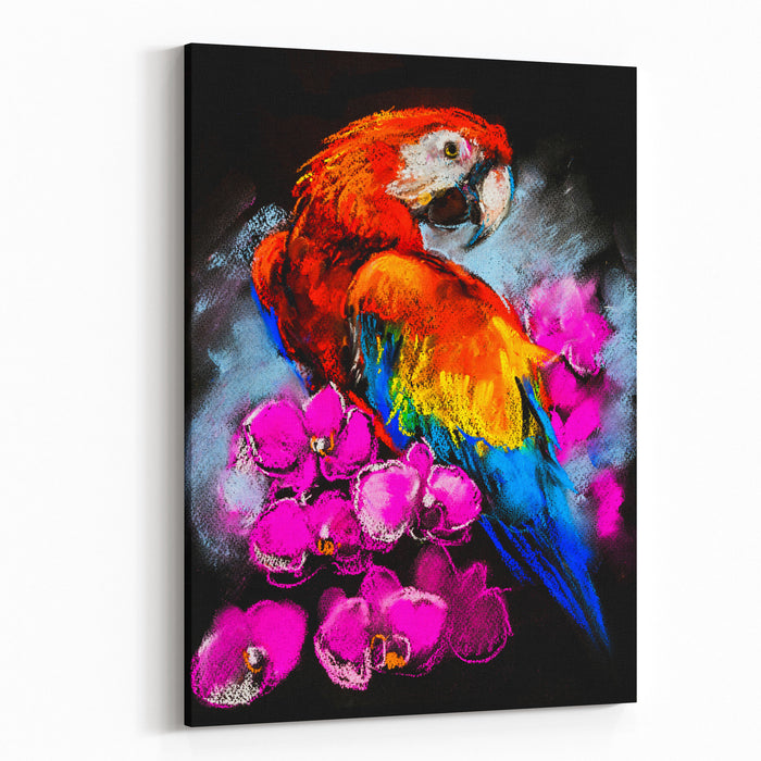 Original Pastel Painting On Cardboard Parrot With Orchids Canvas Wall Art Print