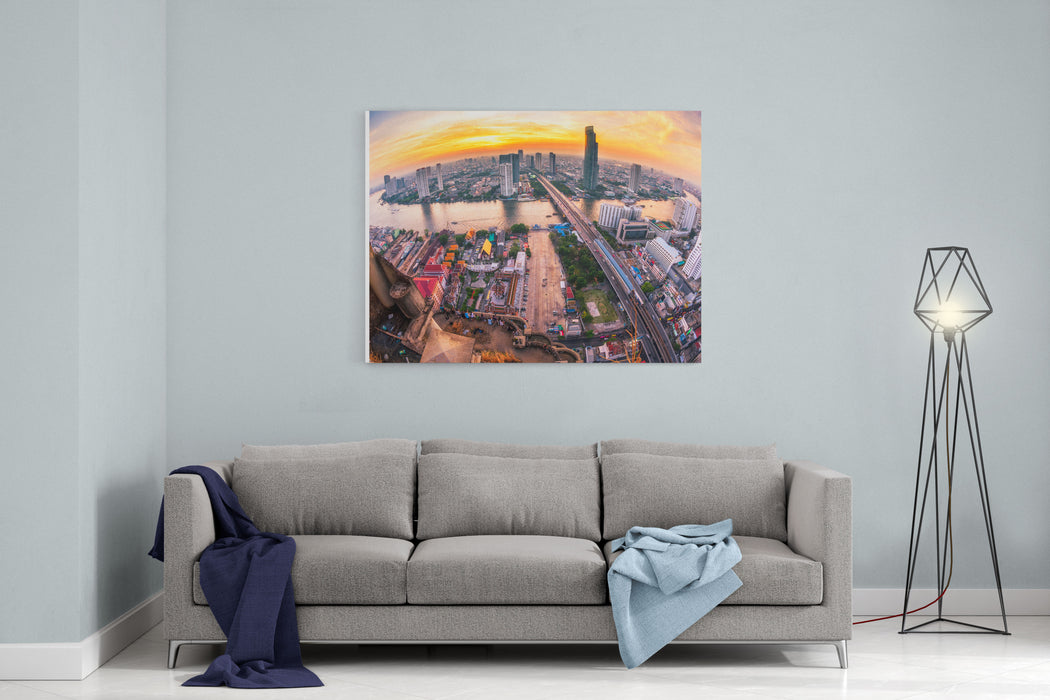 Bangkok City At Sunset Taksin Bridge  With Fisheye Lens Canvas Wall Art Print