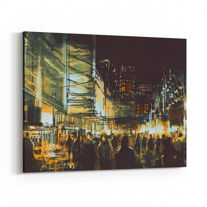 Painting Of Shopping Street City With Colorful Nightlife,illustration Canvas Wall Art Print