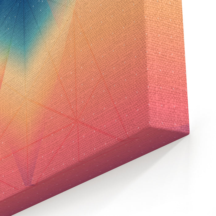 Abstract Isometric Prism With The Reflection Of The Space And Low Poly Triangles On Blurred Background Vector Futuristic Backdrop Canvas Wall Art Print