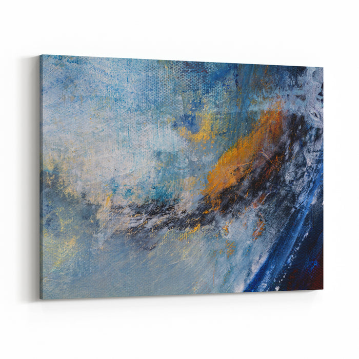 Abstract Original Painting On Canvas, Main Color Ice Blue, Can Be Used As Background Or Poster Canvas Wall Art Print