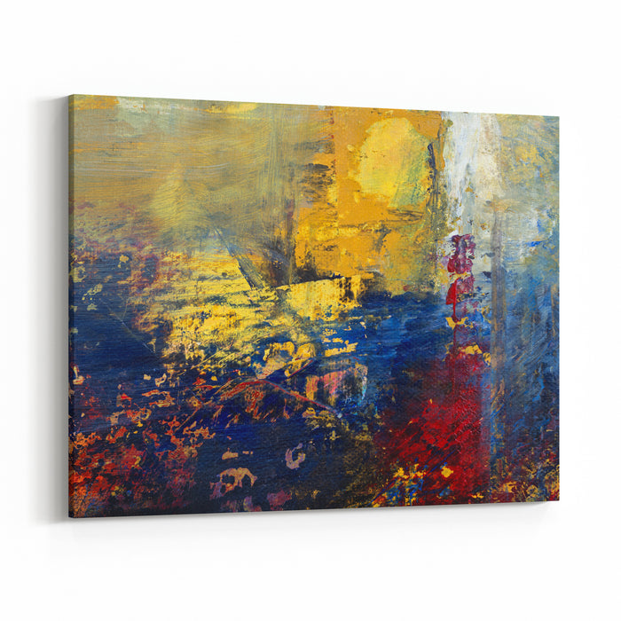 Abstract Original Painting On Canvas With Yellow Blue And Red, Sun On An Eventful Day, Can Be Used As Background Or Poster Canvas Wall Art Print