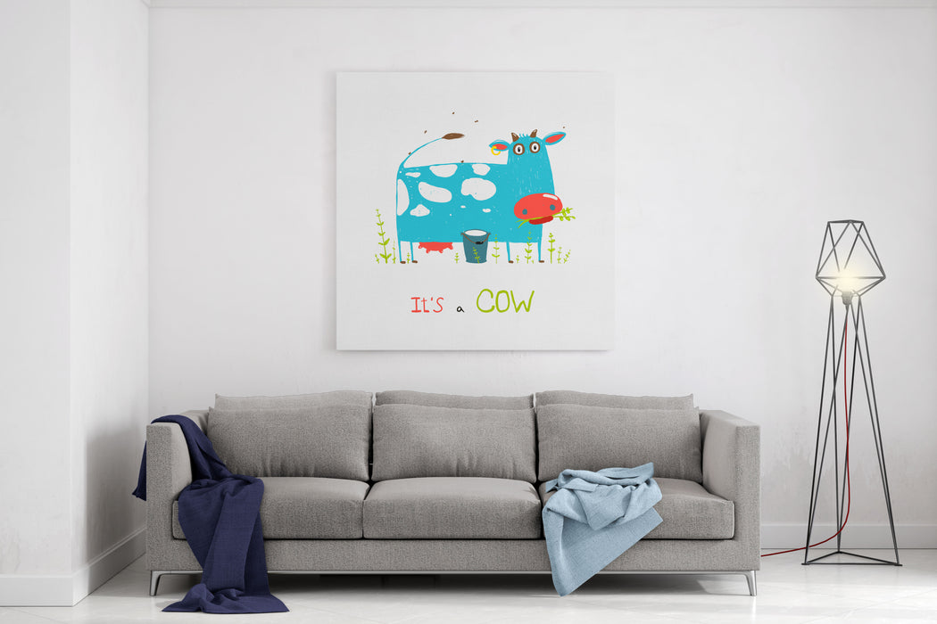 Brightly Colored Fun Cow And Milk For Kids Blue And White Funny Cow Near The Bucket Of Milk Vector EPS Canvas Wall Art Print