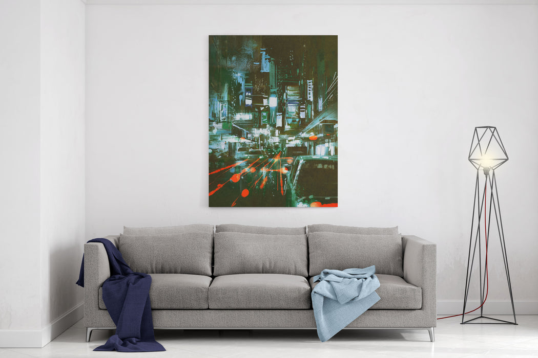 Painting Of Car Taillights On A City Street At Night,illustration Canvas Wall Art Print