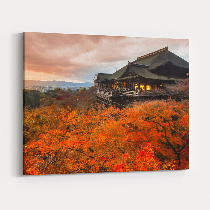 Autumn Color At Kiyomizudera Temple In Kyoto, Japan Canvas Wall Art Print