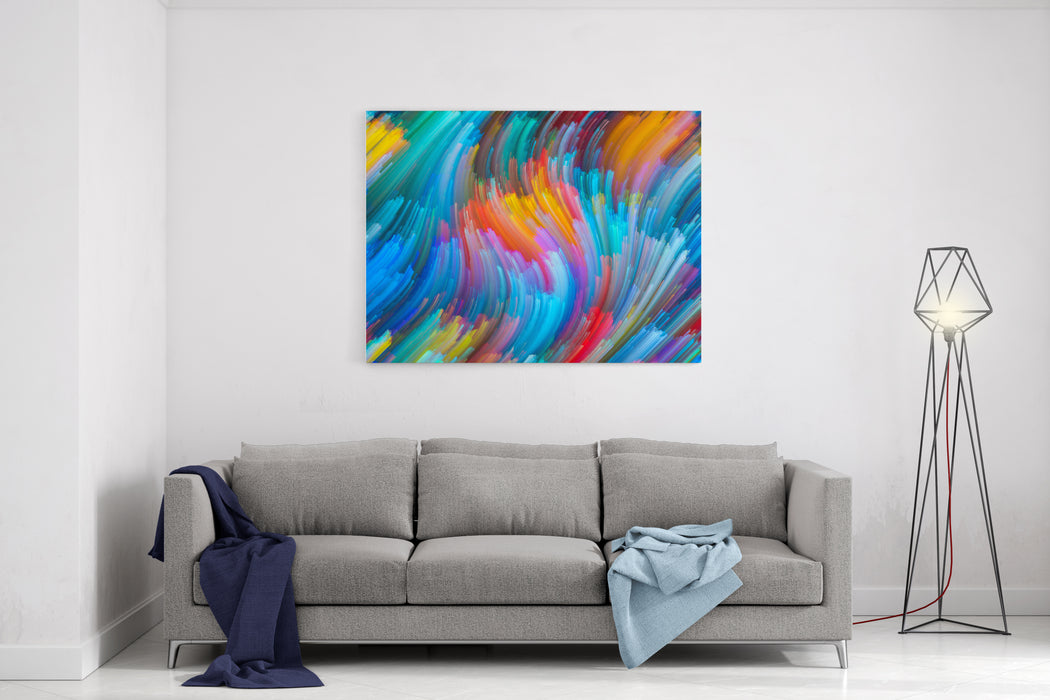 Dynamic Color Series Visually Pleasing Composition Of Streams Of Paint To Serve As  Background In Works On Forces Of Nature, Art, Design And Creativity Canvas Wall Art Print