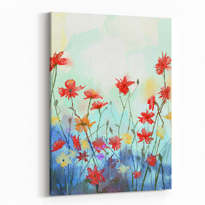 Watercolor Flowers Painting In Soft Color And Blur Style Vintage Painting Flowers Spring Floral Seasonal Nature Background Canvas Wall Art Print