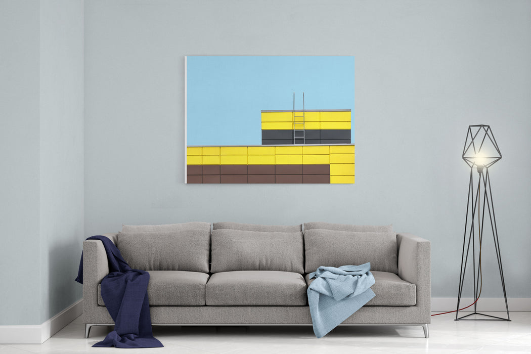 Abstract Architecture Picture Multicolored Building Facade On Flat Cyan Color Background Canvas Wall Art Print