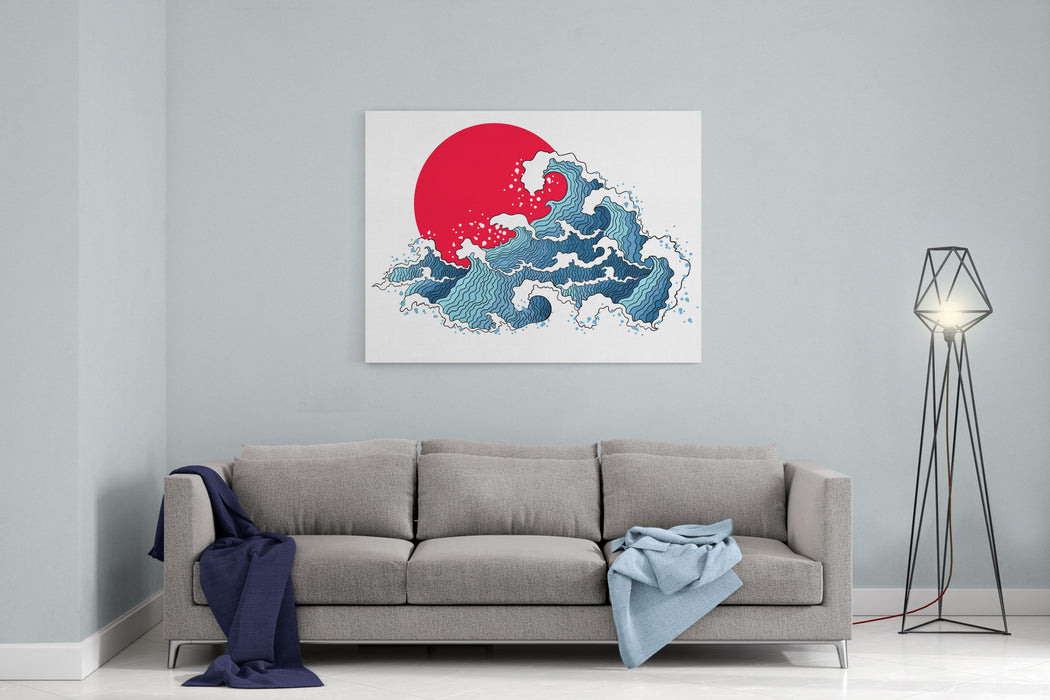 Asian Illustration Of Ocean Waves And Sun Isolated On A White Background Canvas Wall Art Print
