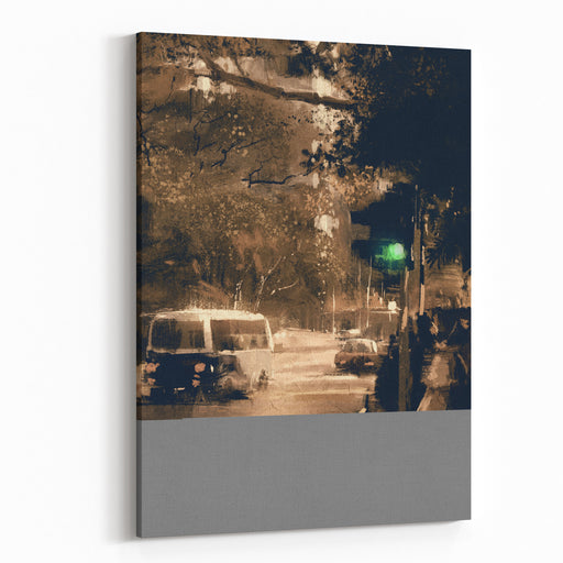 Painting Of City Street In Vintage Color With An Accent On Traffic Light On Green Canvas Wall Art Print