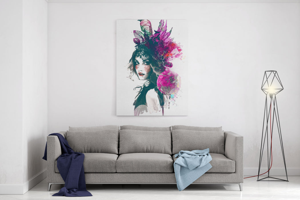 Ink Illustration With Painted Girl, Birds And Leafs Canvas Wall Art Print